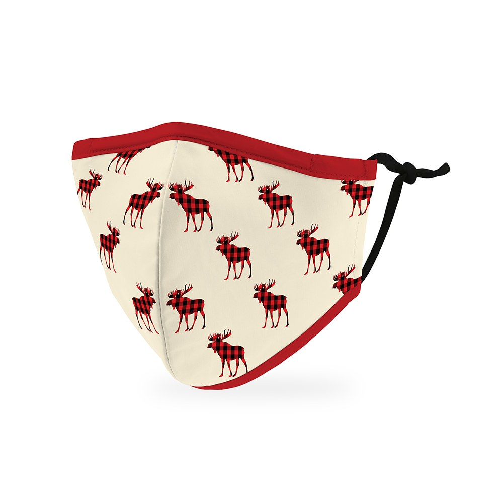 Kid's Reusable, Washable Cloth Face Mask With Filter Pocket - Buffalo Plaid Moose