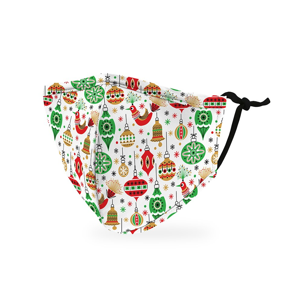 Kid's Reusable, Washable Cloth Face Mask With Filter Pocket - Retro Ornaments