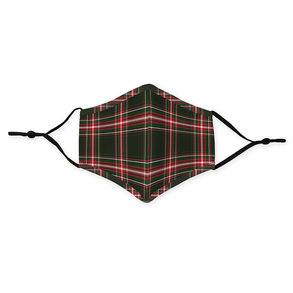 Kid's Reusable, Washable Cloth Face Mask With Filter Pocket - Red & Green Plaid