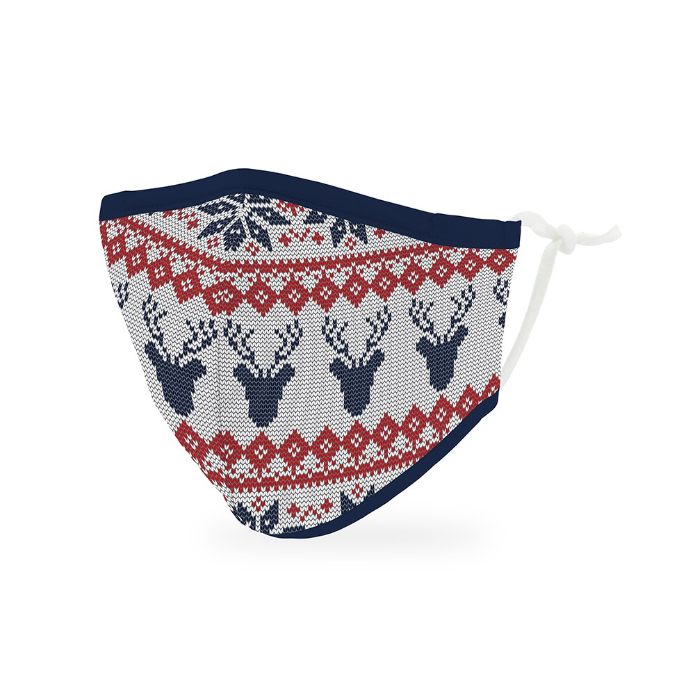 Kid's Reusable, Washable Cloth Face Mask With Filter Pocket - Nordic Reindeer