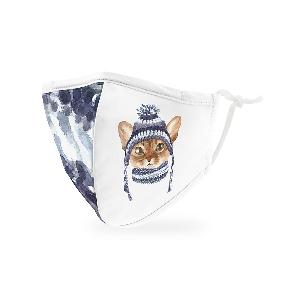 Kid's Reusable, Washable Cloth Face Mask With Filter Pocket - Cozy Cats