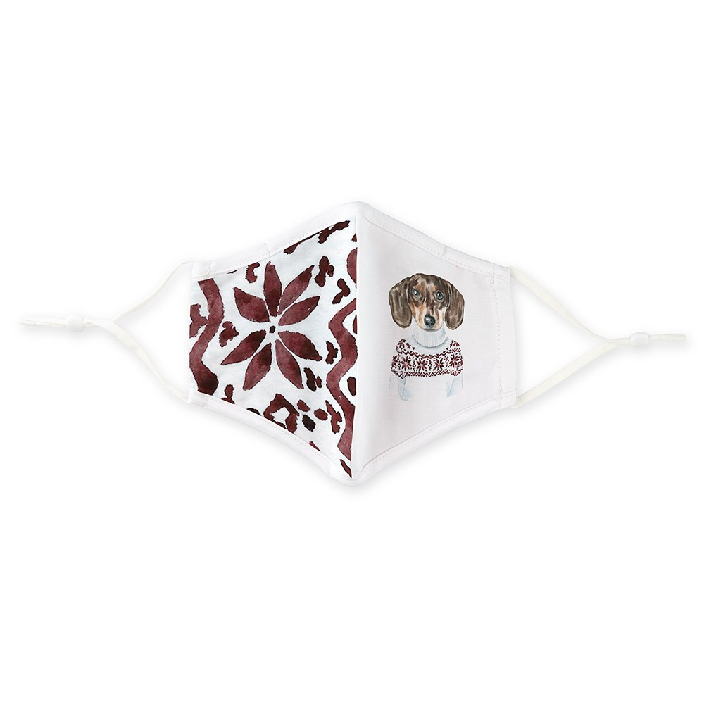 Kid's Reusable, Washable Cloth Face Mask With Filter Pocket - Festive Dog