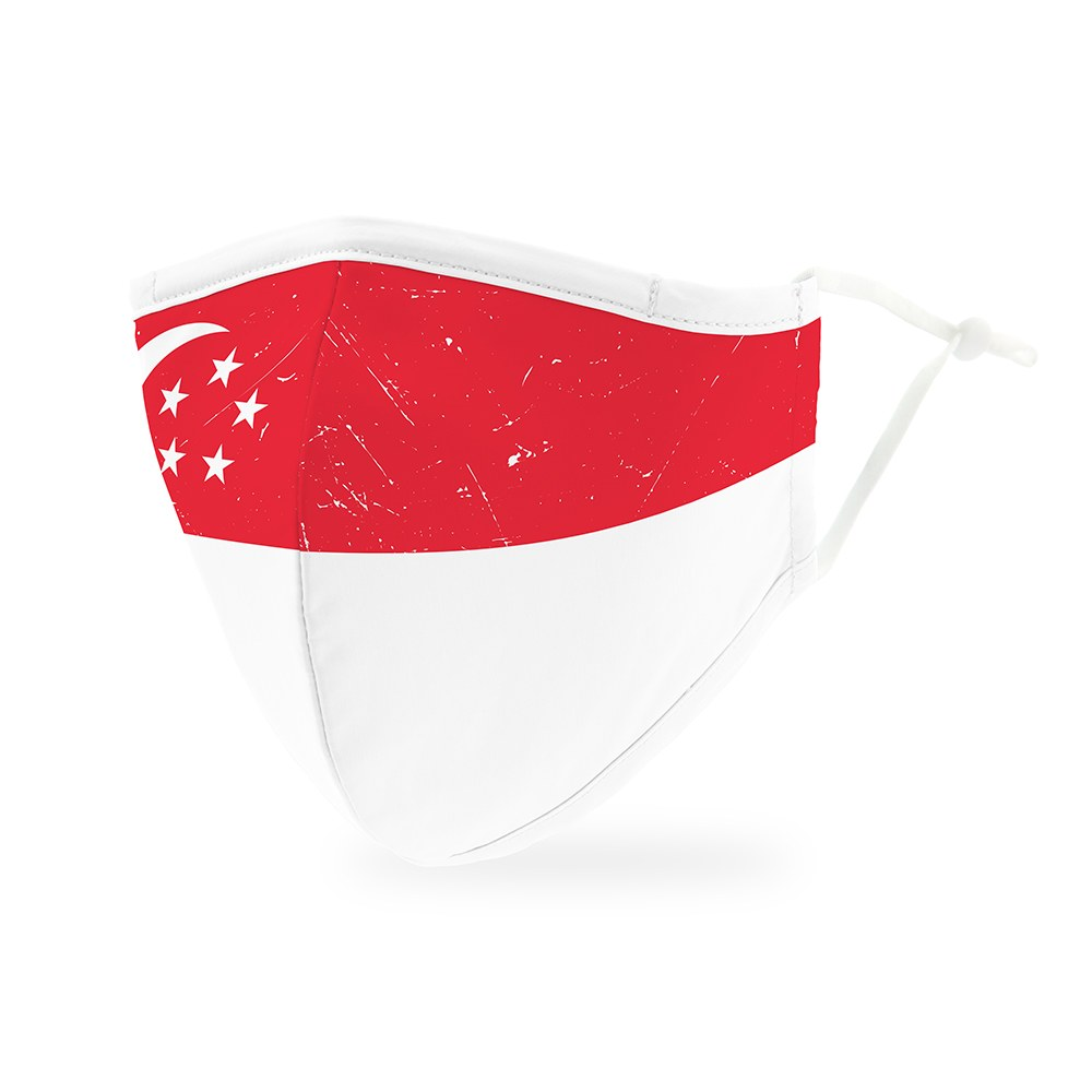 Adult Reusable, Washable Cloth Face Mask With Filter Pocket - Singapore Flag