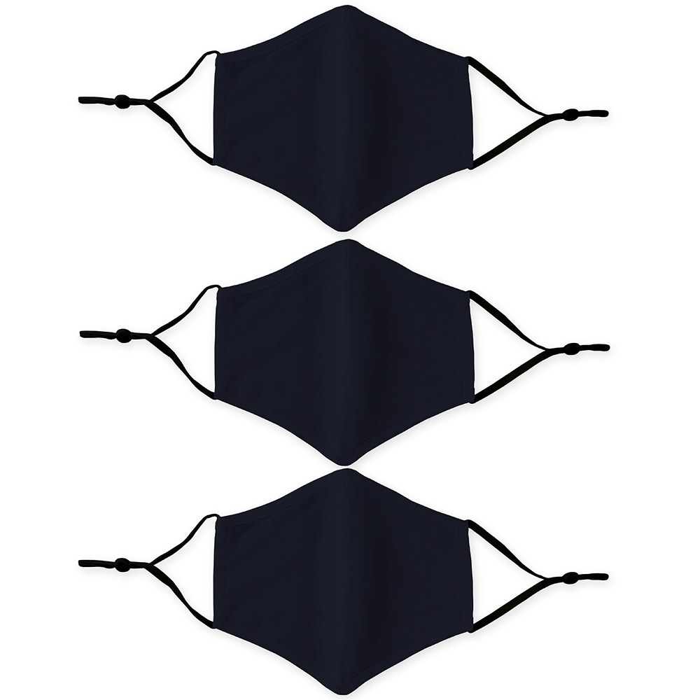 Variety 3-Pack Adult Reusable, Washable 3 Ply Cloth Face Masks with Filter Pockets - Navy Blue