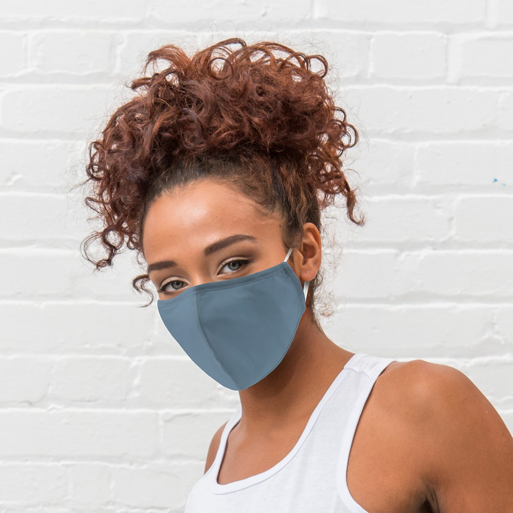 Variety 3-Pack Adult Reusable, Washable 3 Ply Cloth Face Masks with Filter Pockets - Powder Blue