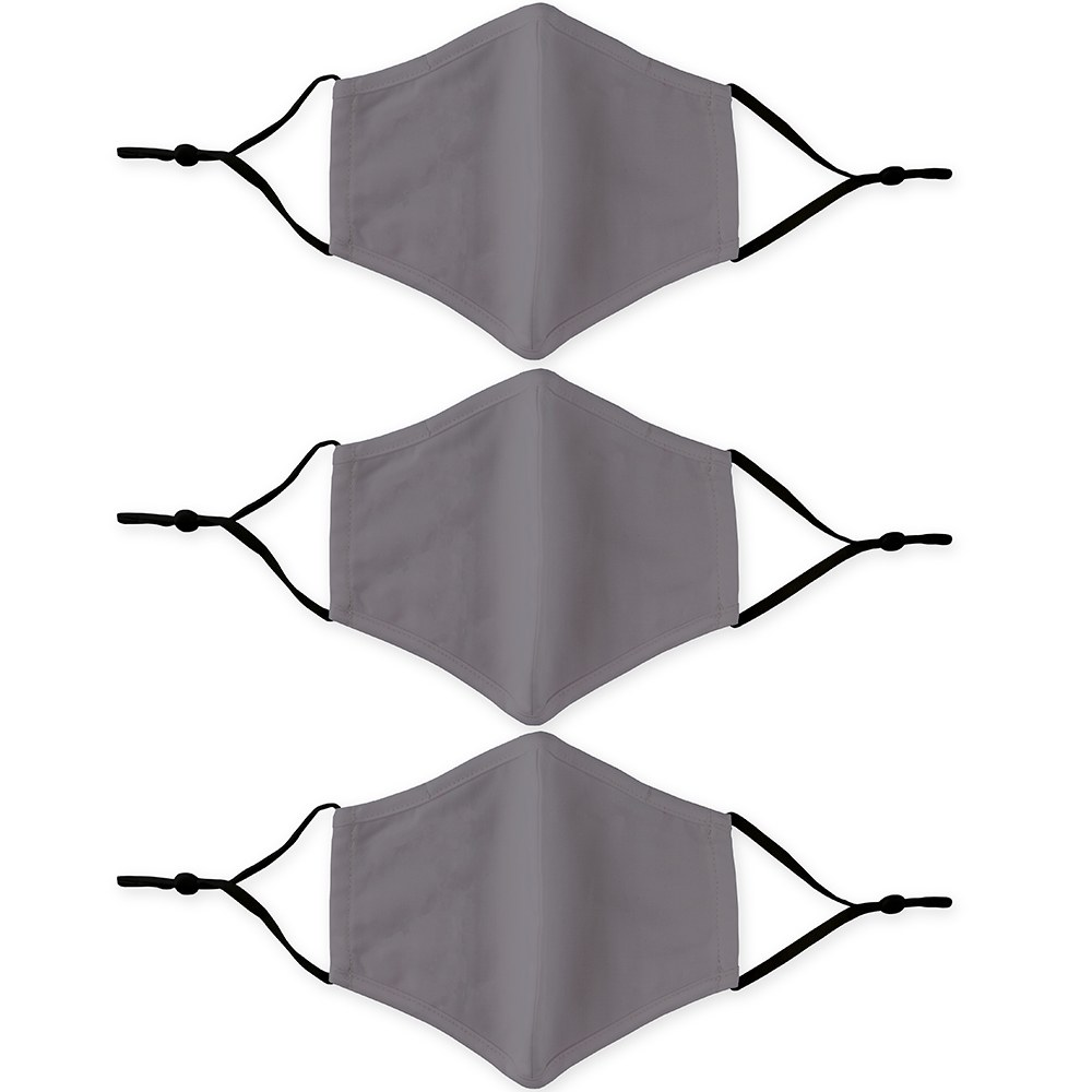 Variety 3-Pack Adult Reusable, Washable 3 Ply Cloth Face Masks with Filter Pockets - Grey