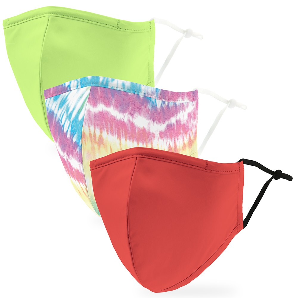 Variety 3-Pack Adult Reusable, Washable Cloth Face Masks with Filter Pockets - Tie- Dye