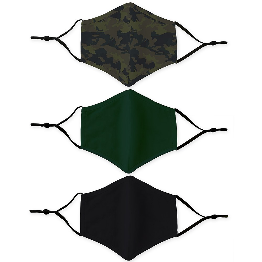 Variety 3-Pack Adult Reusable, Washable Cloth Face Masks with Filter Pockets - Camo