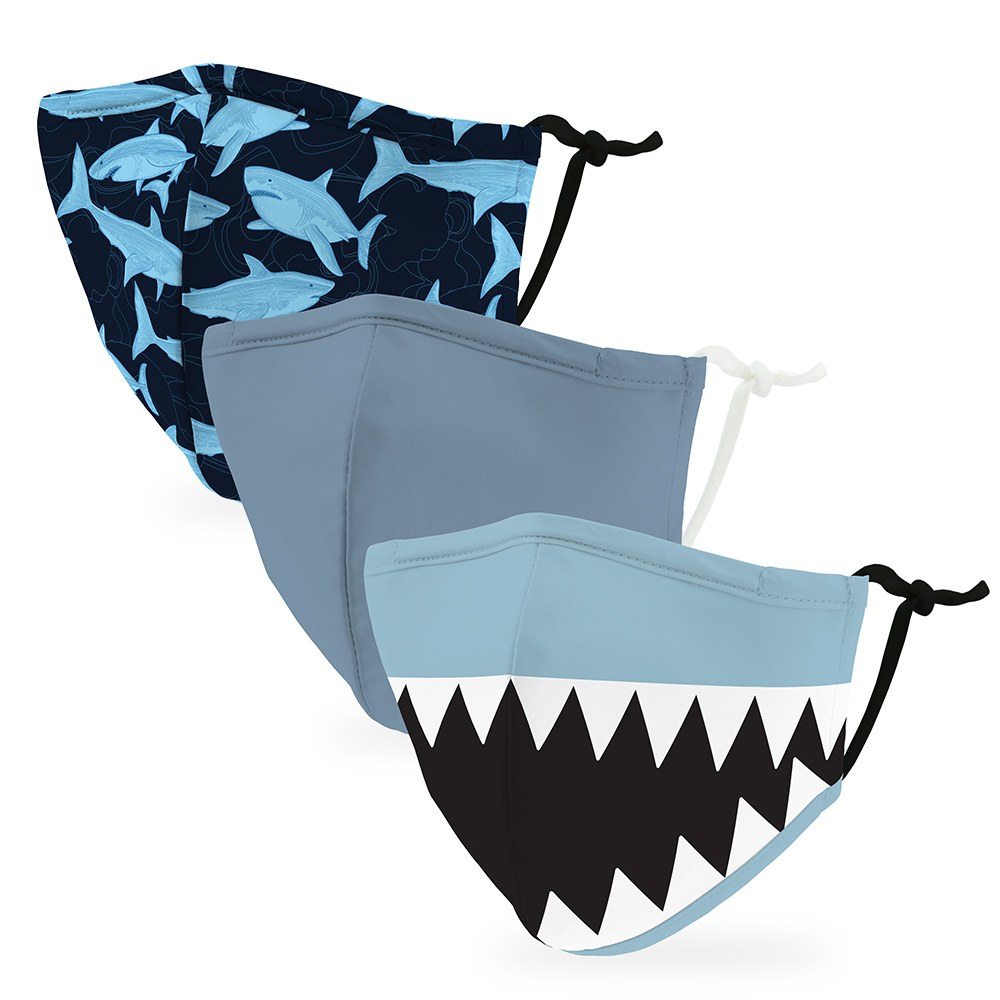Variety 3-Pack Kid's Reusable, Washable Cloth Face Masks with Filter Pockets - Shark
