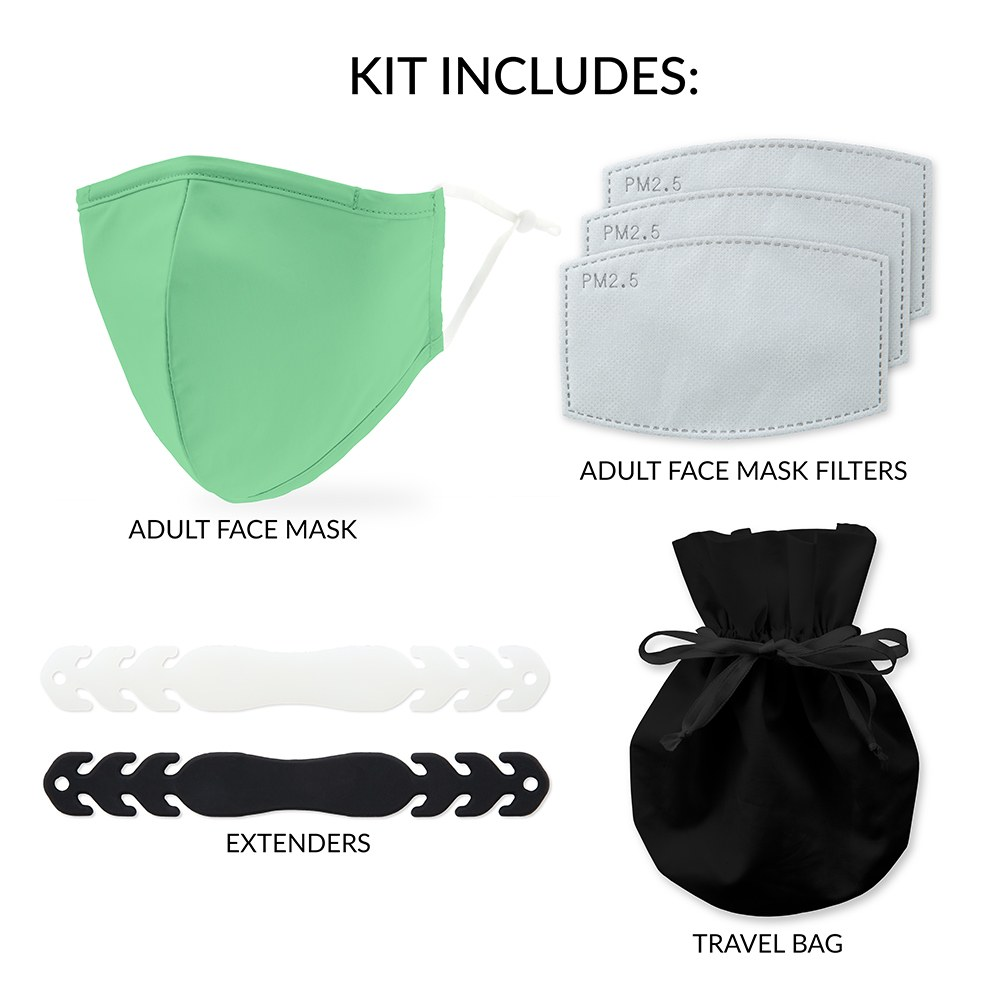 Adult Reusable, Washable Cloth Face Mask 5-Piece Starter Kit - Mint Green