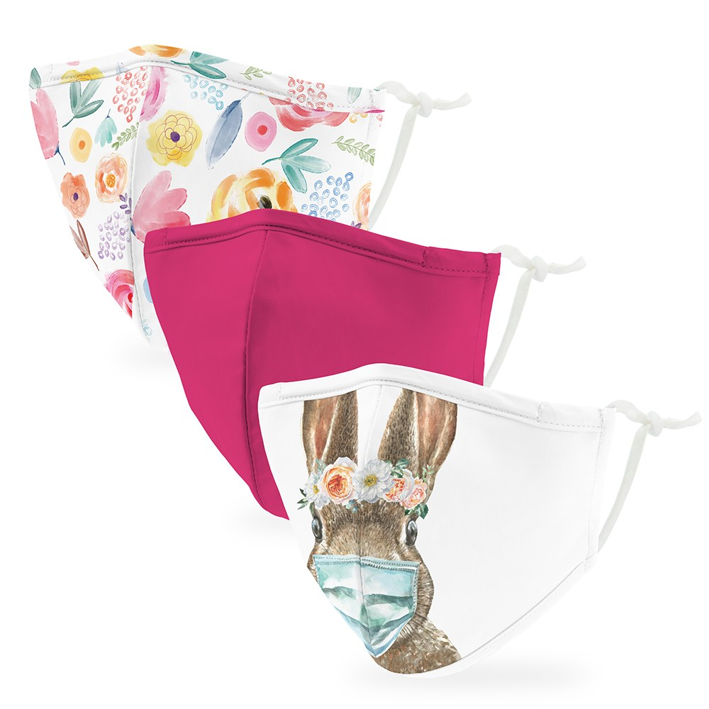 Variety 3-Pack Kid's Reusable, Washable 3 Ply Cloth Face Masks with Filter Pockets - Floral Bunny