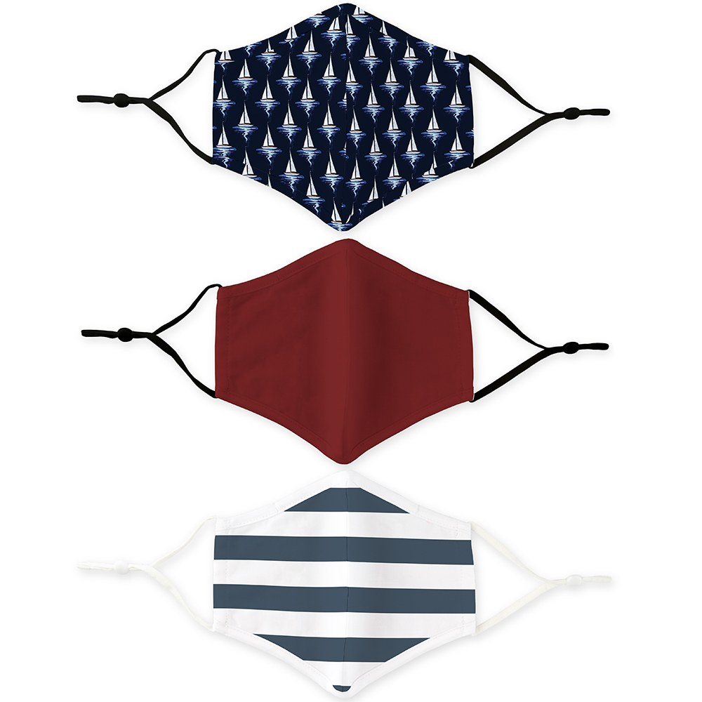 Variety 3-Pack Adult Reusable, Washable 3 Ply Cloth Face Masks with Filter Pockets - Nautical