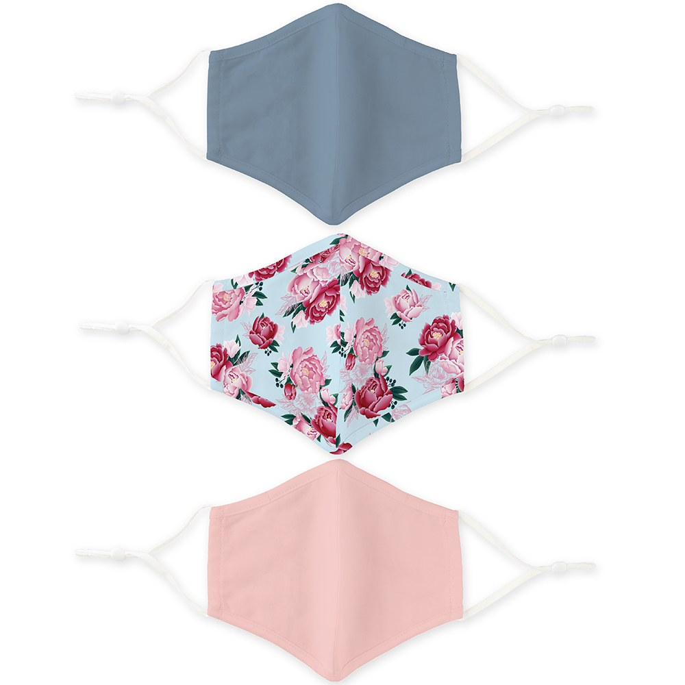 Variety 3-Pack Adult Reusable, Washable 3 Ply Cloth Face Masks with Filter Pockets - Pastel Floral