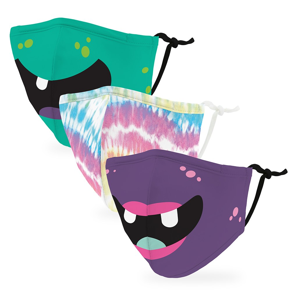 Variety 3-Pack Kid's Reusable, Washable 3 Ply Cloth Face Masks with Filter Pockets - Lil' Monsters