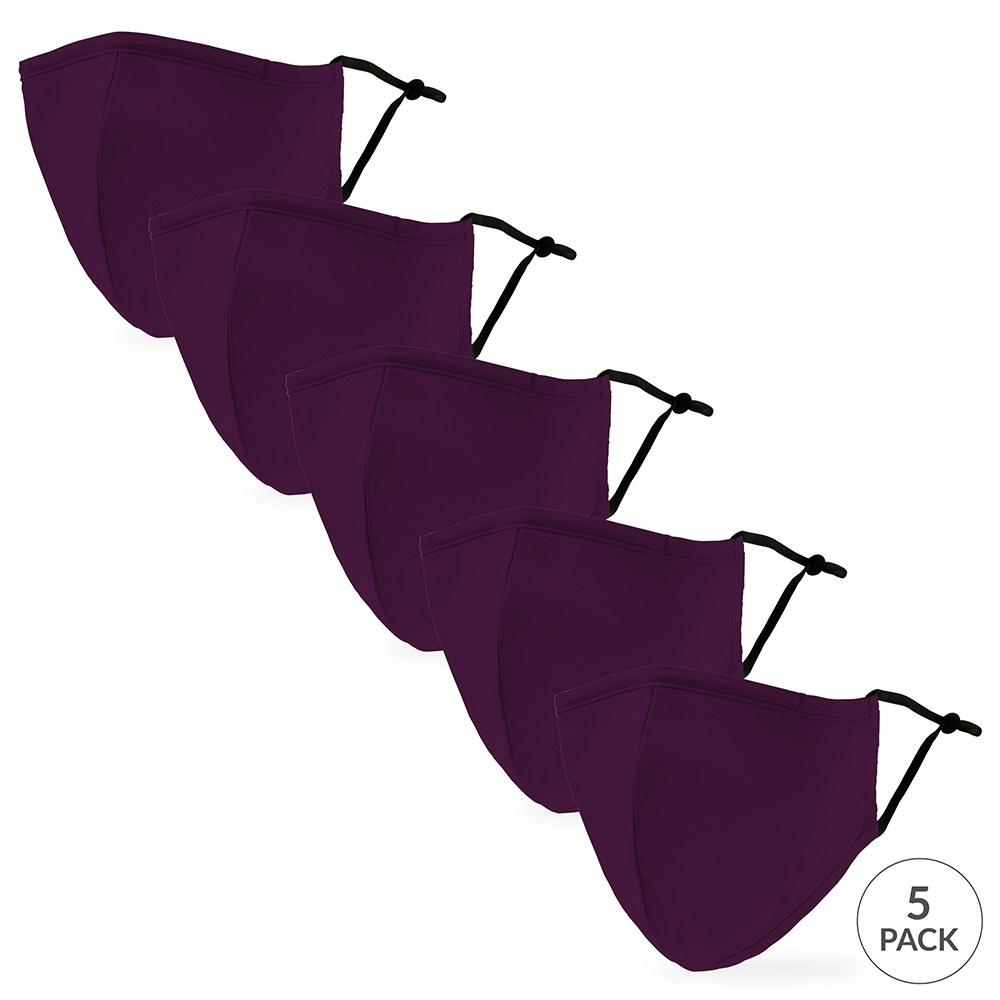 5-Pack Adult Reusable, Washable 3 Ply Cloth Face Masks with Filter Pockets - Dark Purple