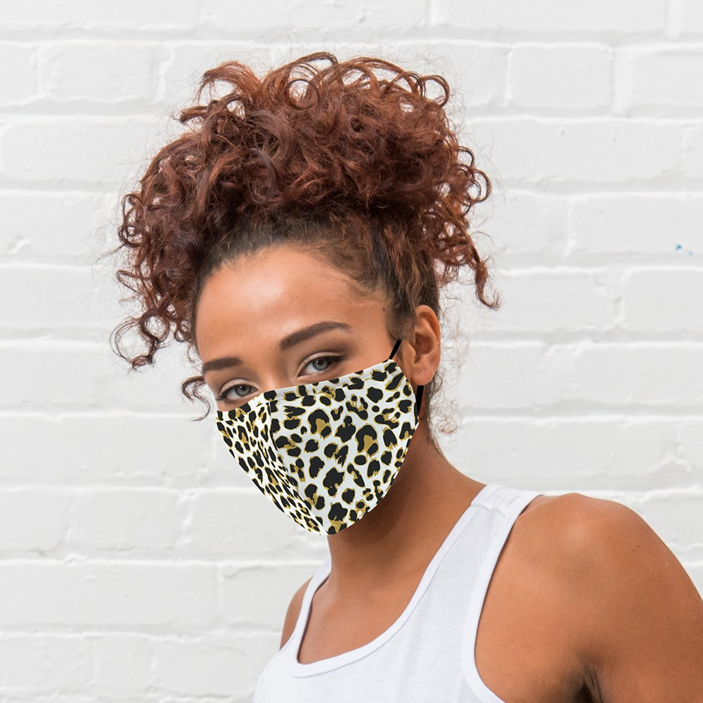 5-Pack Adult Reusable, Washable 3 Ply Party Themed Cloth Face Masks with Filter Pockets - Leopard