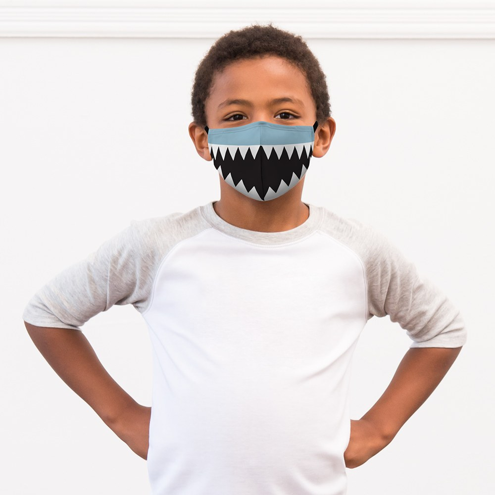 5-Pack Kids Reusable, Washable 3 Ply Party Themed Cloth Face Masks with Filter Pockets - Shark Tooth