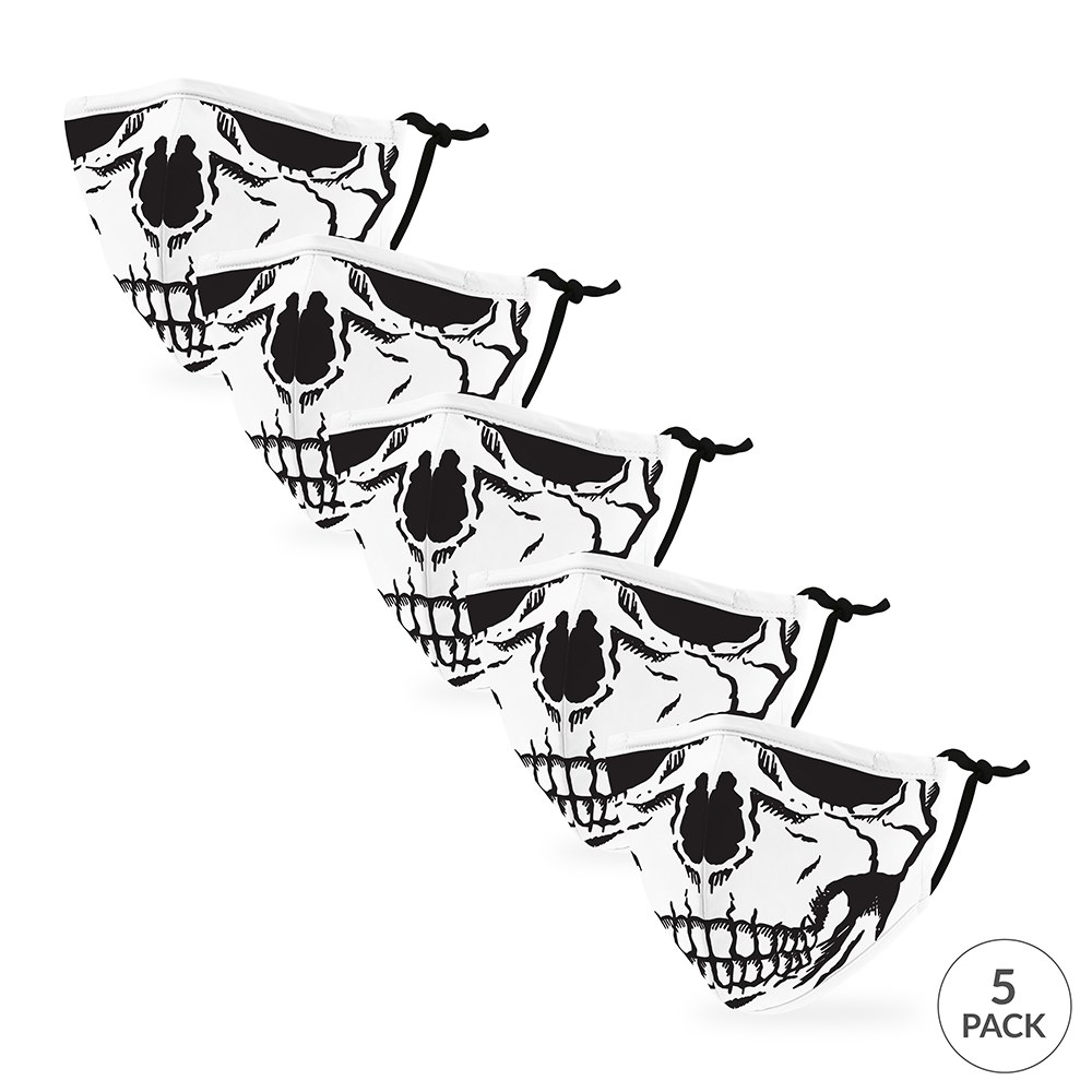 5-Pack Kids Reusable, Washable 3 Ply Party Themed Cloth Face Masks with Filter Pockets - Skull