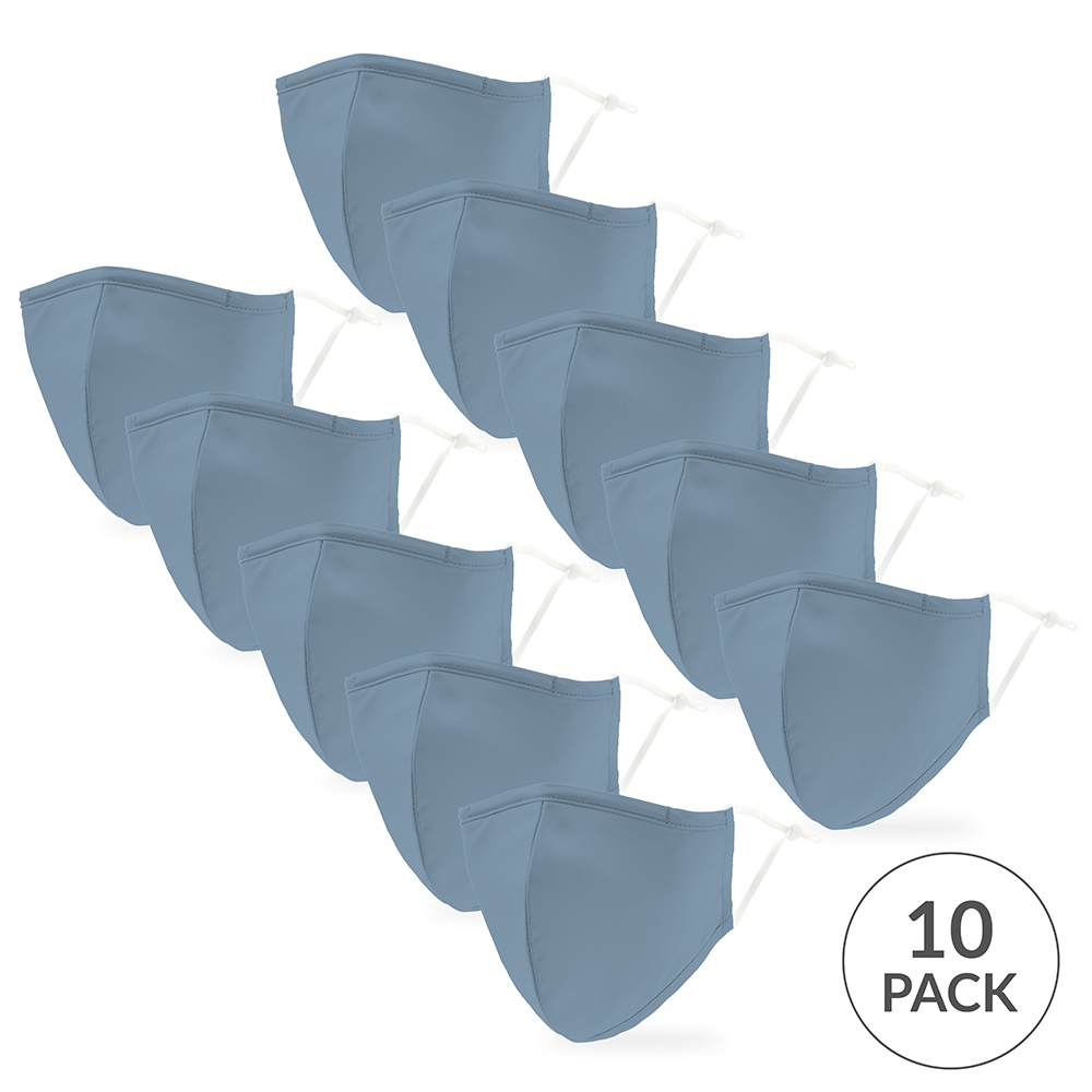 10-Pack Adult Reusable, Washable 3 Ply Cloth Face Masks with Filter Pockets - Light Blue
