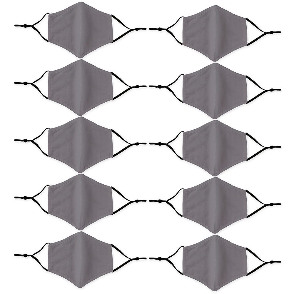 10-Pack Adult Reusable, Washable 3 Ply Cloth Face Masks with Filter Pockets - Grey