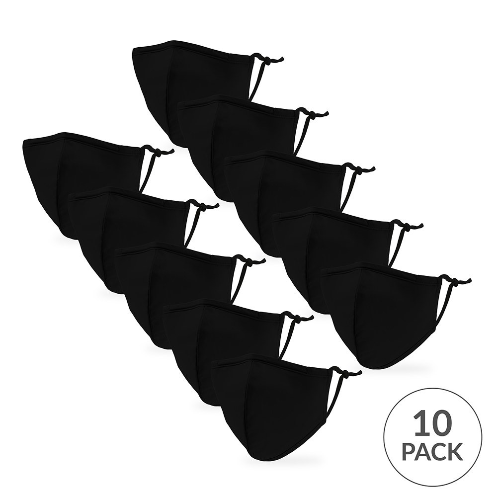 10-Pack Kid's Reusable, Washable 3 Ply Cloth Face Masks with Filter Pockets - Classic Black