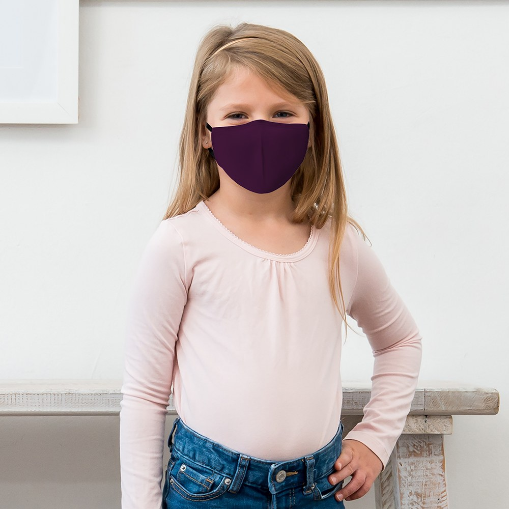 10-Pack Kid's Reusable, Washable 3 Ply Cloth Face Masks with Filter Pockets - Dark Purple