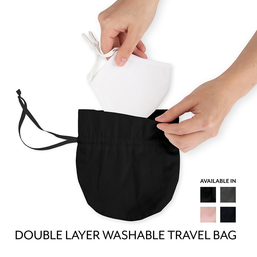 50-Pack Adult Reusable, Washable 3 Ply Cloth Face Masks with Filter Pockets - Classic Black