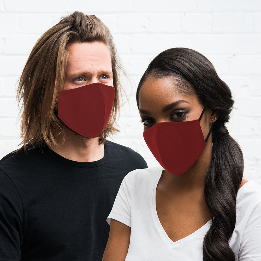 50-Pack Adult Reusable, Washable 3 Ply Cloth Face Masks with Filter Pockets - Red