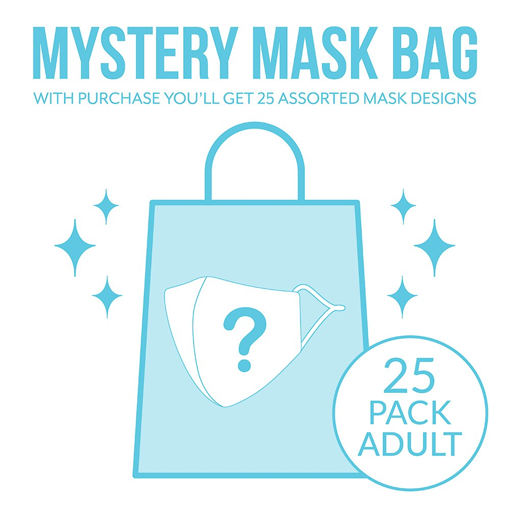 Variety 25-Pack Adult Reusable, Washable 3 Ply Cloth Face Masks With Filter Pockets - Mystery Pack