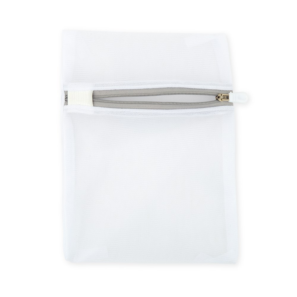 Small Polyester Mesh Zippered Face Mask Wash Bag - White - Set of 2