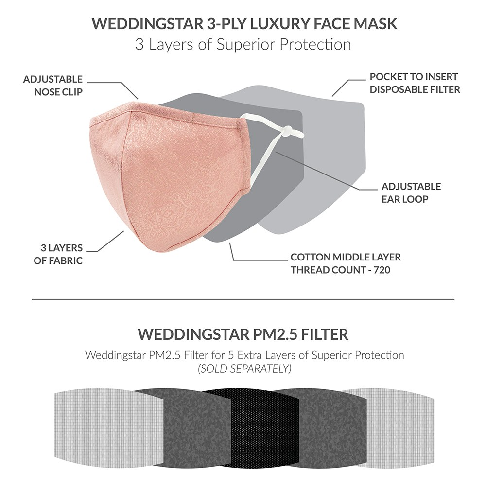 Luxury Adult Reusable, Washable Cloth Face Mask With Filter Pocket - Damask Shimmer