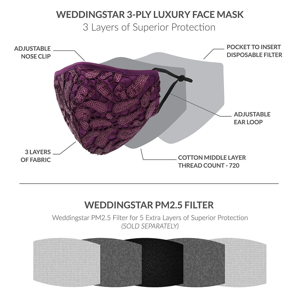 Luxury Adult Reusable, Washable Cloth Face Mask With Filter Pocket - Purple Garnet
