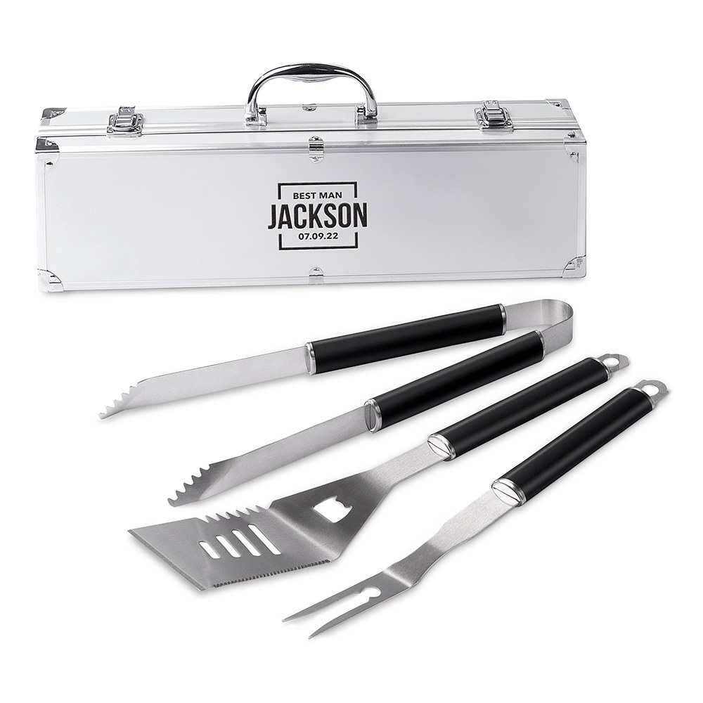 Custom Stainless Steel BBQ Tools Grill Set - Best Man Square Emblem
