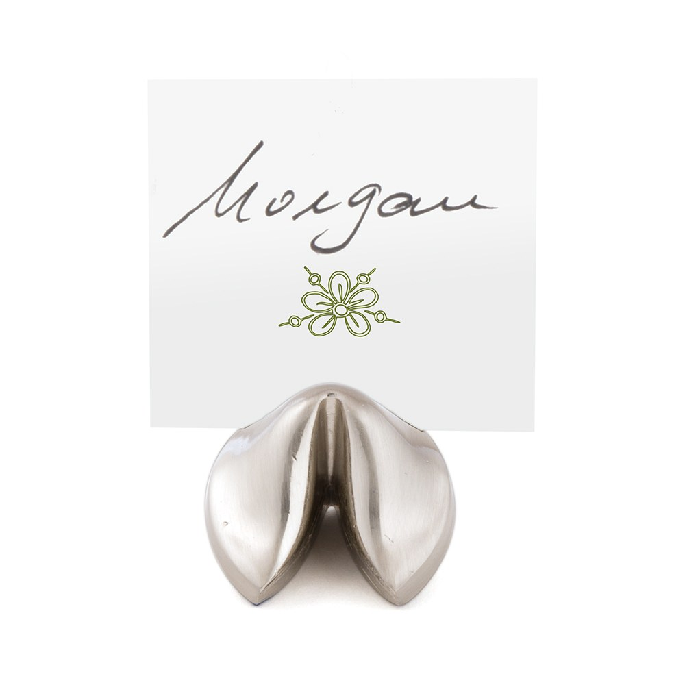 Silver Fortune Cookie Wedding Place Card Holders