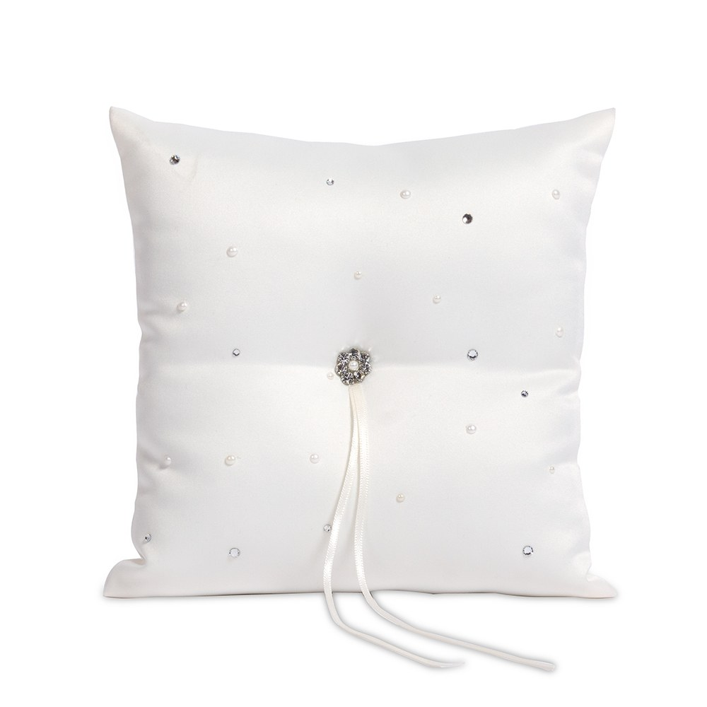 Ceremony Accessory Pearl and Crystal Ring Pillow
