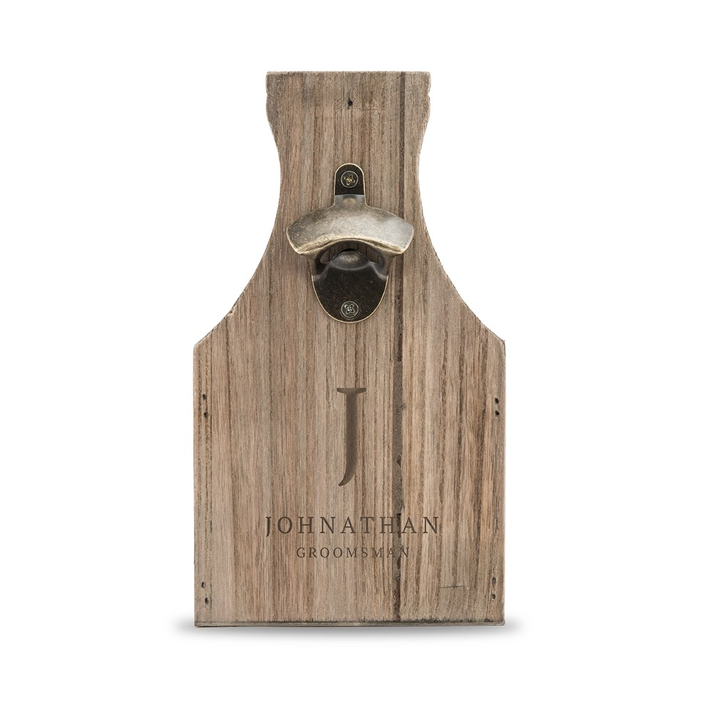 Personalized Wooden Beer Bottle Caddy with Opener - Simple Monogram