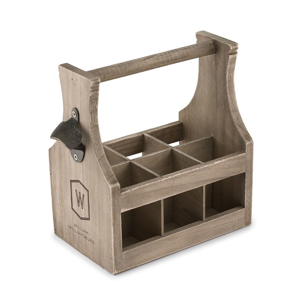Personalized Wooden Beer Bottle Caddy with Opener - Geo Monogram