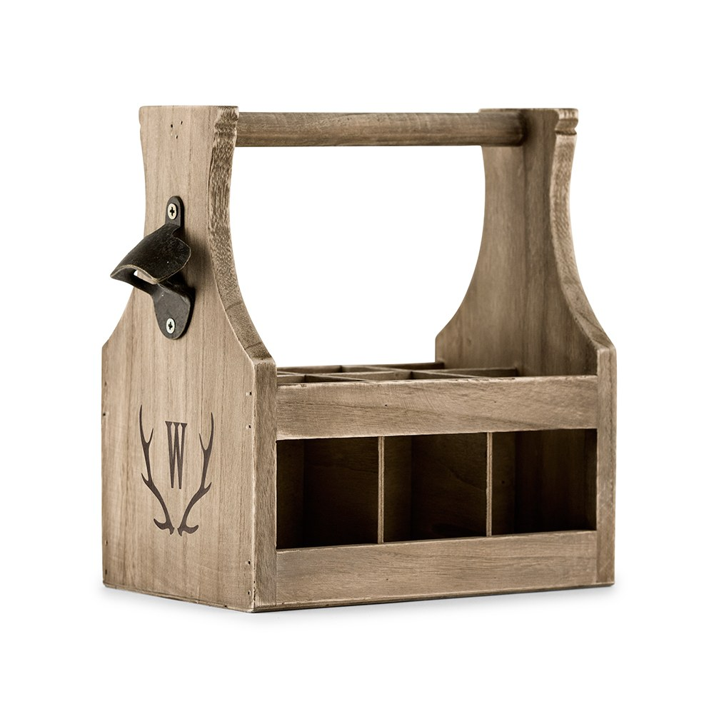 Personalized Wooden Beer Bottle Caddy with Opener - Antler Monogram