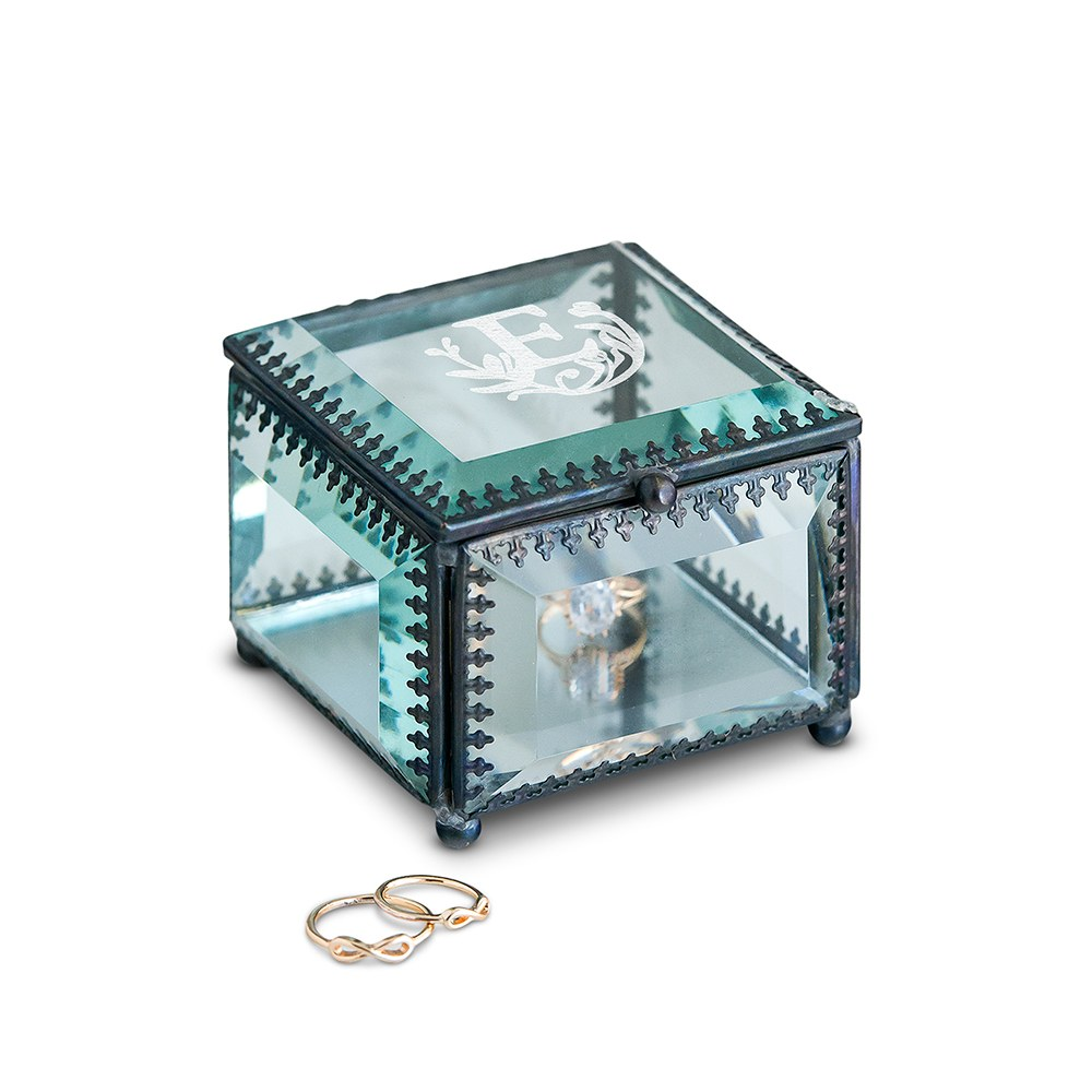 Small Personalized Vintage Glass Jewelry Box - Modern Fairy Tale Engraving