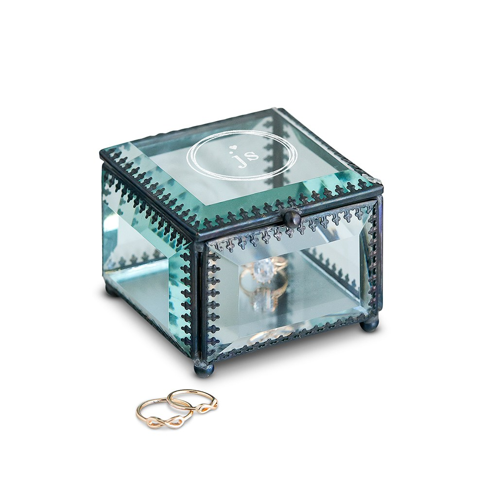 Small Personalized Vintage Glass Jewelry Box - Little Heart Engraving