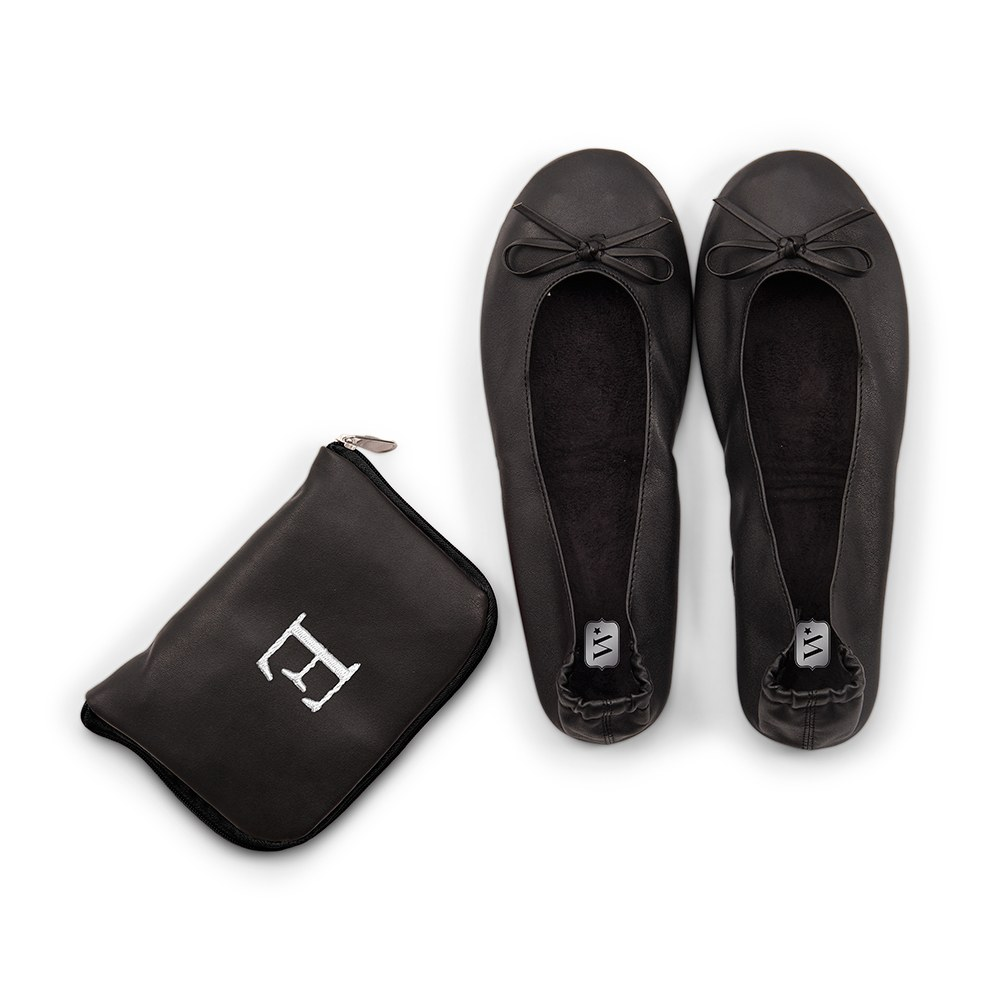 Personalized Foldable Ballet Flats Wedding Favors - Black