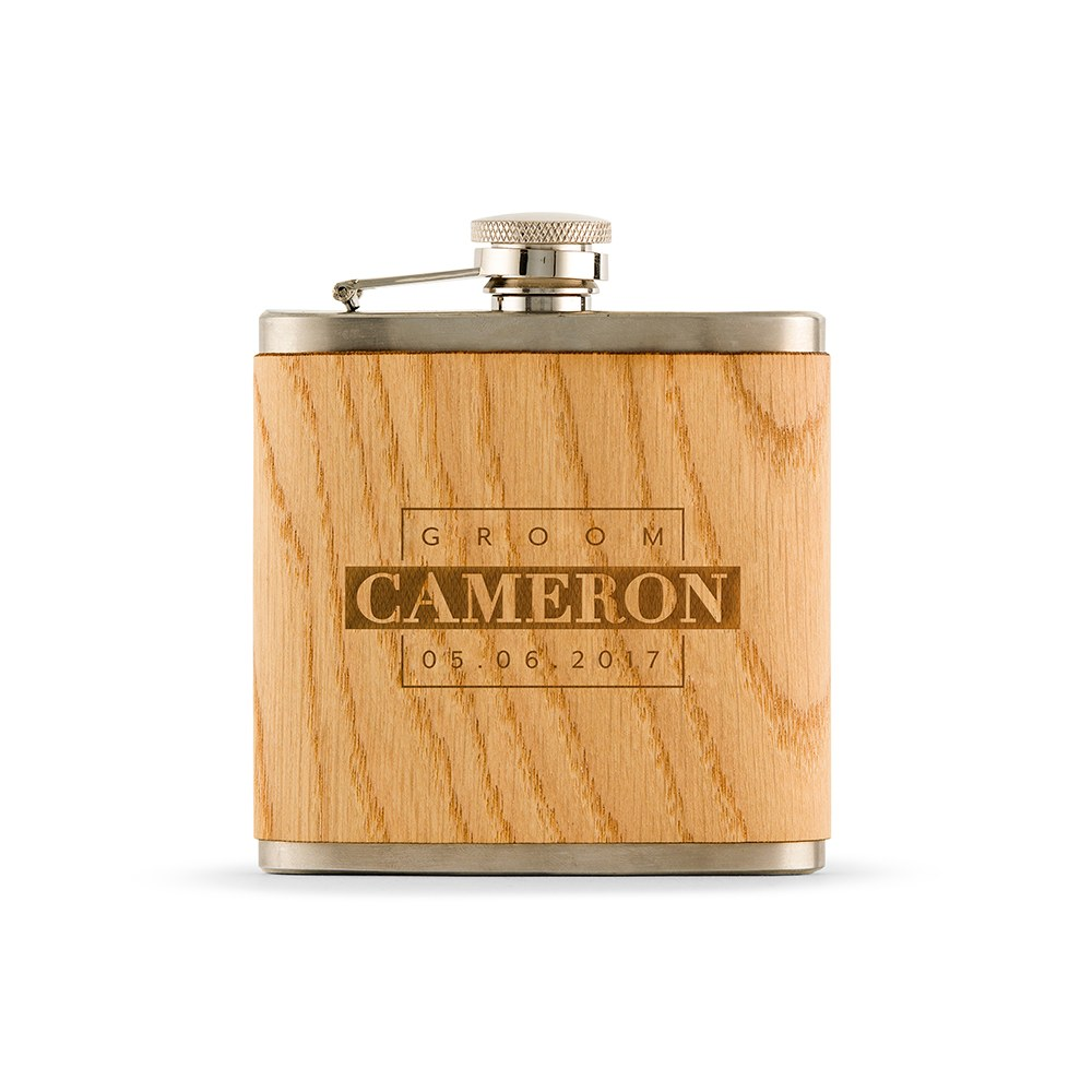 Personalized Oak Wood Wrapped Stainless Steel Hip Flask - Groom Monogram Print
