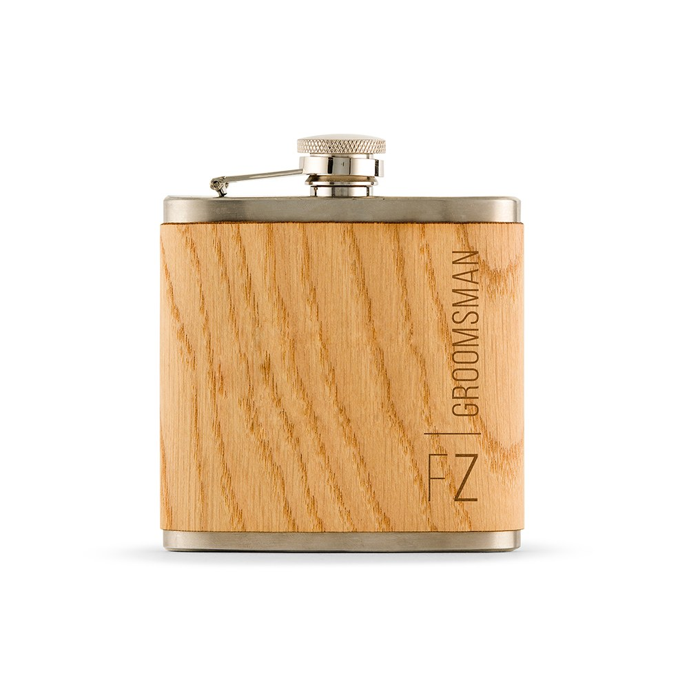 Personalized Oak Wood Wrapped Stainless Steel Hip Flask – Vertical Monogram and Text Print