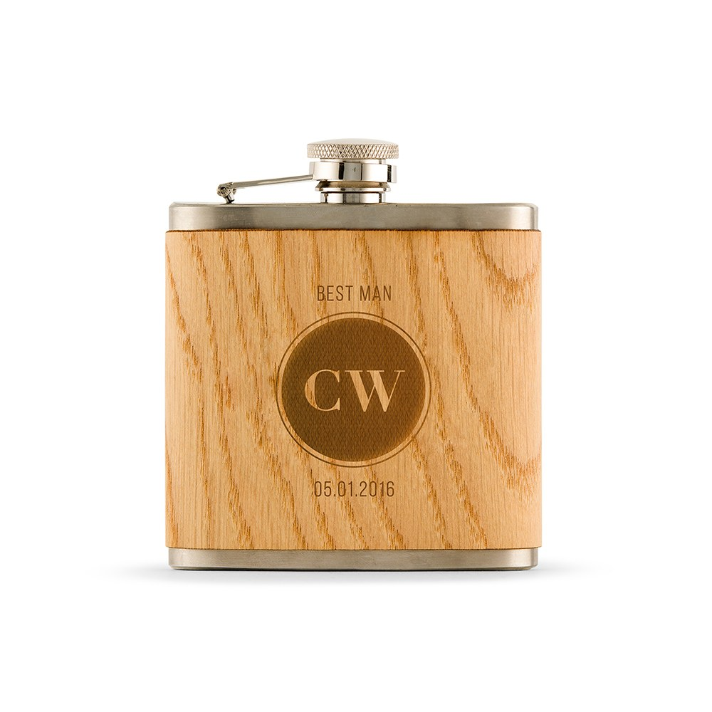 Personalized Oak Wood Wrapped Stainless Steel Hip Flask - Circle Monogram Print