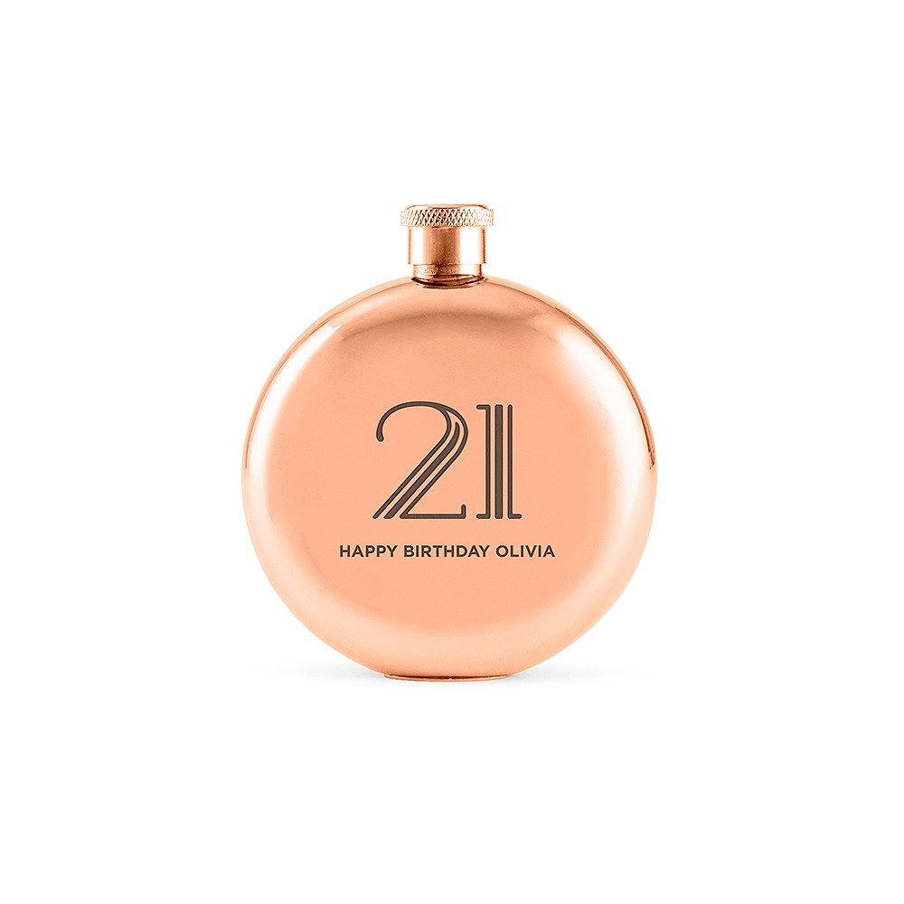 Personalized Rose Gold Stainless Steel Round Hip Flask – Vintage Glam Text Engraving