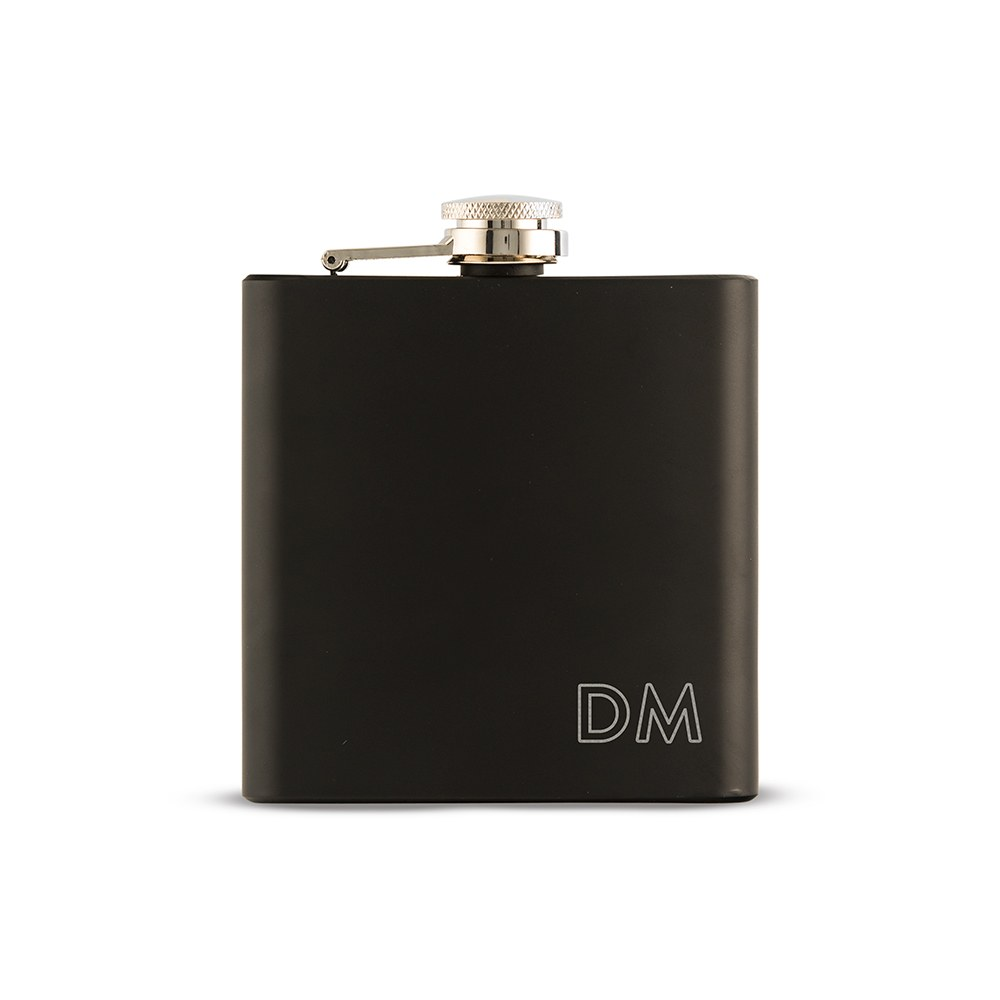 Personalized Engraved Black Hip Flask Wedding Gift - Outlined Monogram Engraving