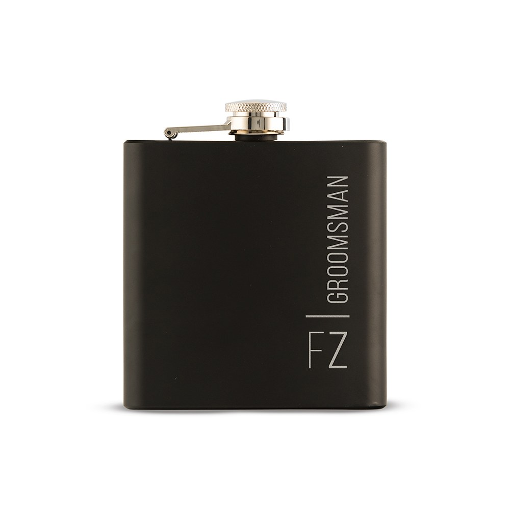 Personalized Engraved Black Hip Flask Wedding Gift - Vertical Monogram and Text Engraving