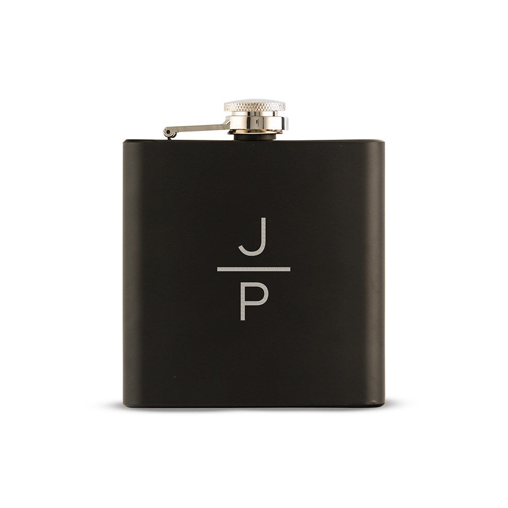 Personalized Engraved Black Hip Flask Wedding Gift - Stacked Monogram Engraving