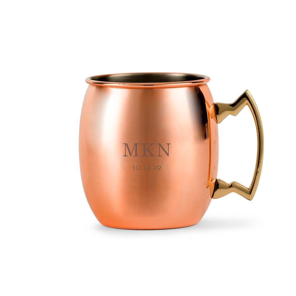 Personalized Copper Moscow Mule Drink Mug – Classic Monogram Engraving