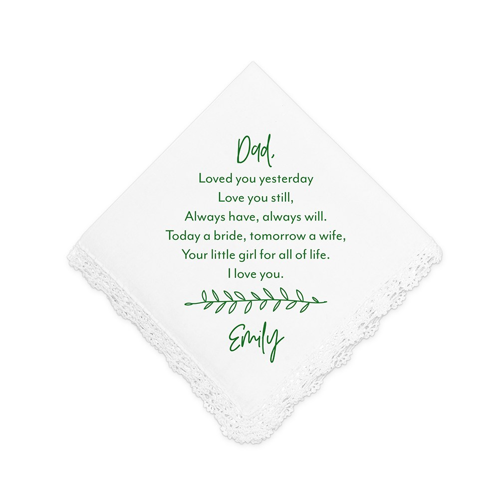 Personalized White Pocket Handkerchief - Leaf Motif